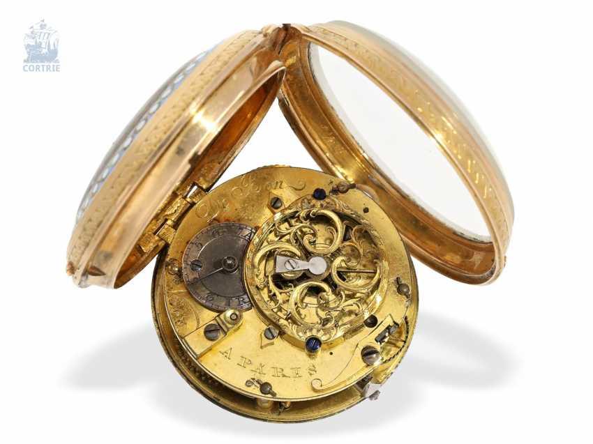 Pocket watch: exquisite French Gold/enamel Spindeluhr in excellent state of preservation, De Bon, Paris, around 1780 - photo 3