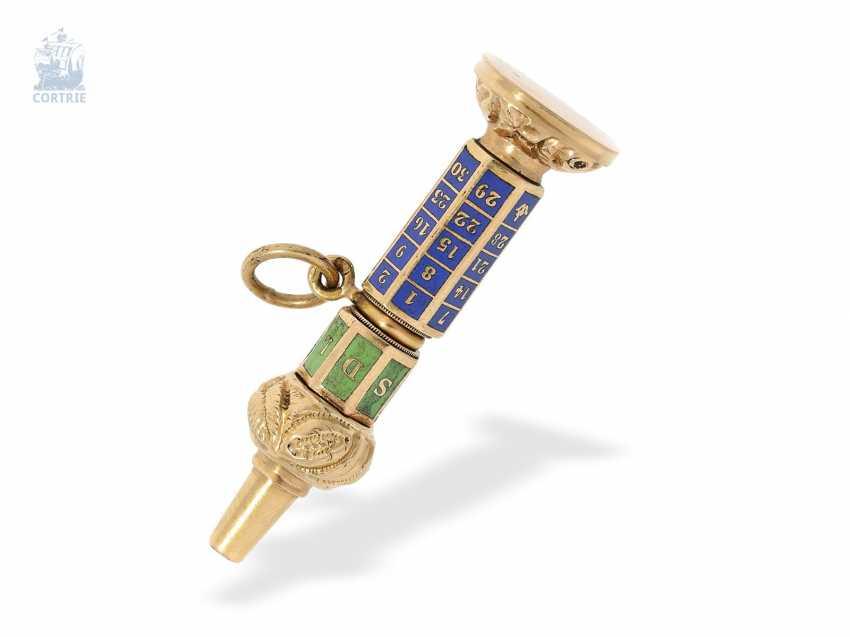 UhrenschlüsseLänge: musealer, extrem seltener Gold/Emaille-Spindeluhrenschlüssel mit ewigem Kalender, vermutlich Genf um 1800 - photo 1