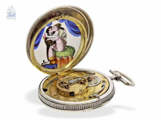 Pocket watch: rare Spindeluhr with 2 hidden, erotic enamel paintings, presumably France, C. 1810 - photo 2
