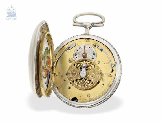 Pocket watch: rare Spindeluhr with 2 hidden, erotic enamel paintings, presumably France, C. 1810 - photo 5