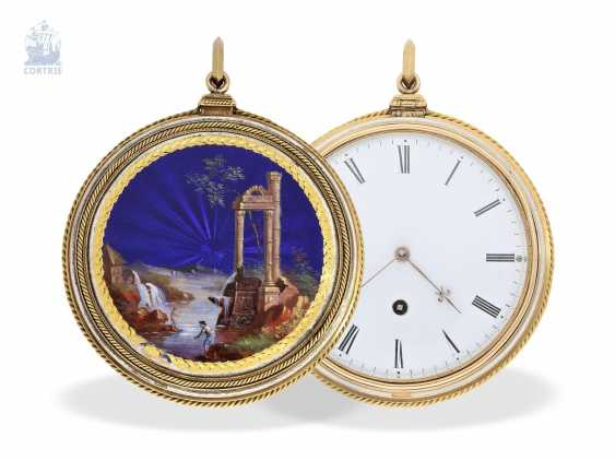 Pocket watch: very fine, especially big Gold/enamel pocket watch with special plant quality, probably Geneva, circa 1830 - photo 1