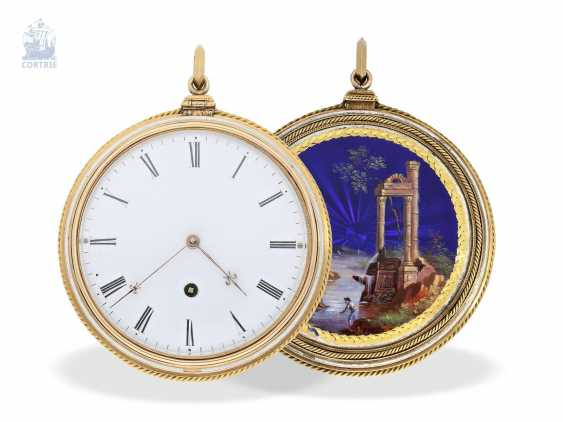 Pocket watch: very fine, especially big Gold/enamel pocket watch with special plant quality, probably Geneva, circa 1830 - photo 2