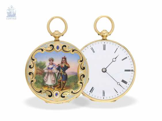 Pocket watch/Anhängeuhr: very fine, unique Gold/enamel Miniaturlepine from the beginning of time, the company Patek Philippe, made for the Polish market, Czapek i Spolka No. 1805, approx. 1846 - photo 8