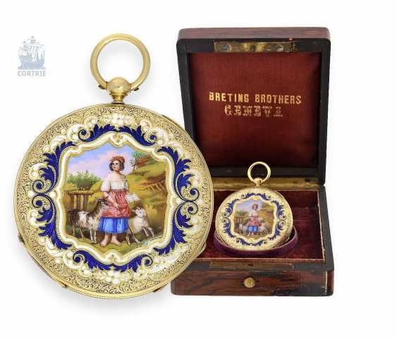Pocket watch: exquisite, super-flat Gold/enamel pocket watch Vacheron Geneve, 1835, one of the earliest watches in the world famous company, No. 686 - photo 1