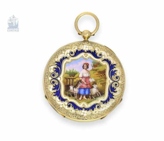 Pocket watch: exquisite, super-flat Gold/enamel pocket watch Vacheron Geneve, 1835, one of the earliest watches in the world famous company, No. 686 - photo 3