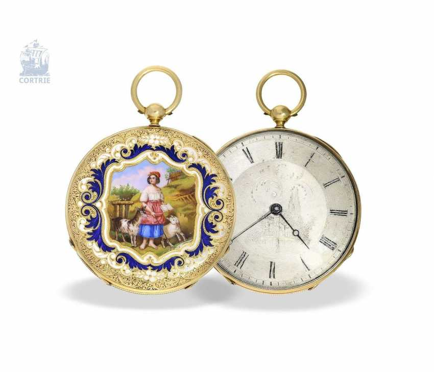 Pocket watch: exquisite, super-flat Gold/enamel pocket watch Vacheron Geneve, 1835, one of the earliest watches in the world famous company, No. 686 - photo 7