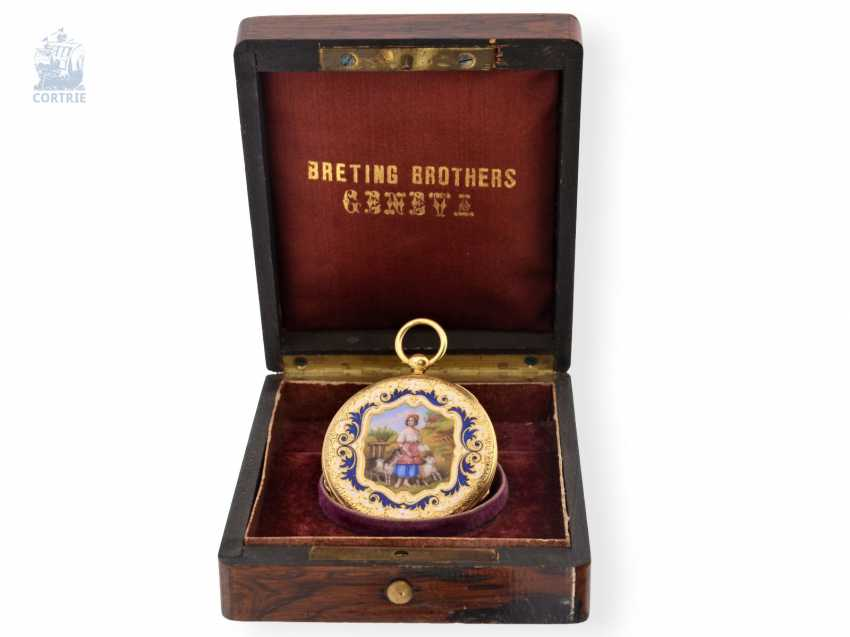 Pocket watch: exquisite, super-flat Gold/enamel pocket watch Vacheron Geneve, 1835, one of the earliest watches in the world famous company, No. 686 - photo 8