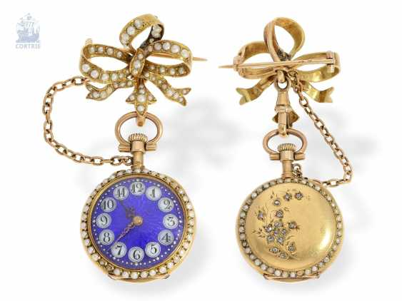 Anhängeuhr: extremely attractive Le Coultre ladies watch with pearls and diamonds, and a matching brooch & original box, Switzerland around 1900 - photo 1