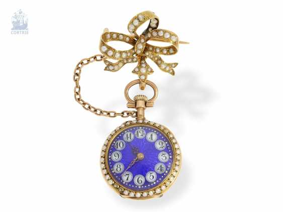 Anhängeuhr: extremely attractive Le Coultre ladies watch with pearls and diamonds, and a matching brooch & original box, Switzerland around 1900 - photo 2