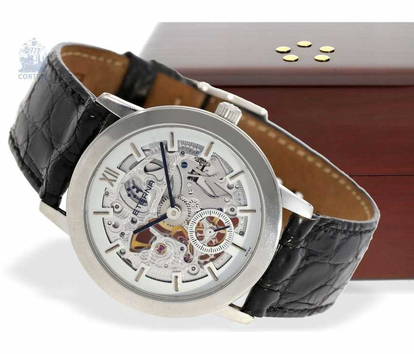 """Watch: very rare, strictly limited edition vintage mens Eterna """"Skeleton Platinum"""" Ref.In 1856, No. 133/299 with original certificate and original box - photo 1"""