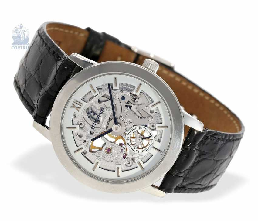 """Watch: very rare, strictly limited edition vintage mens Eterna """"Skeleton Platinum"""" Ref.In 1856, No. 133/299 with original certificate and original box - photo 4"""
