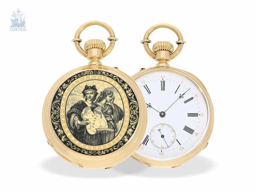 Pocket watch: unique, ultra-fine Gold/enamel Pocket chronometer, signed F. Veyrat Geneve No. 2052, CA. 1860 - photo 1