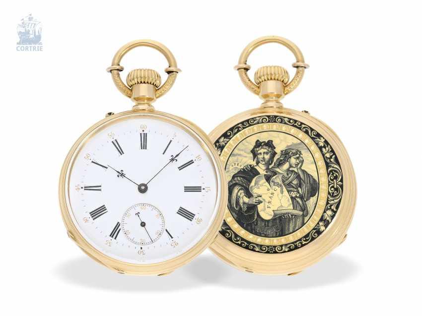 Pocket watch: unique, ultra-fine Gold/enamel Pocket chronometer, signed F. Veyrat Geneve No. 2052, CA. 1860 - photo 6