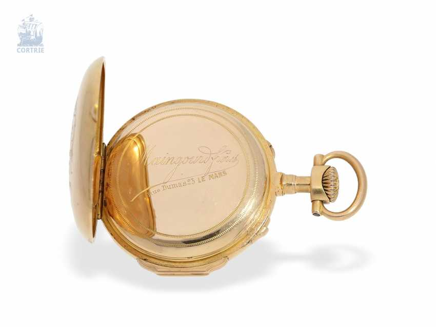 Pocket watch: very fine and extremely rare French Louis XVI-Style Pocket chronometer with original box, Maingourd Freres Le Mans No. 50653, CA. 1870 - photo 3