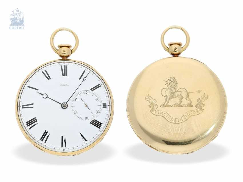 Pocket watch: technically highly interesting and extremely rare pocket watch with Pendant-to-train-lift, seconds and duplex escapement, Viner & Co of London in 1837, former noble possession - photo 1