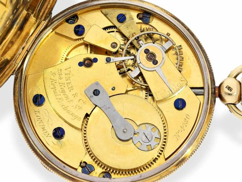 Pocket watch: technically highly interesting and extremely rare pocket watch with Pendant-to-train-lift, seconds and duplex escapement, Viner & Co of London in 1837, former noble possession - photo 5