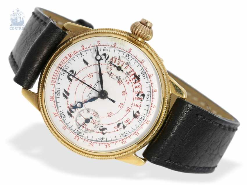 """Watch: rarity, extremely early """"Single Button Chronograph"""", with the Register and enamel dial, Zenith to 1928 - photo 1"""
