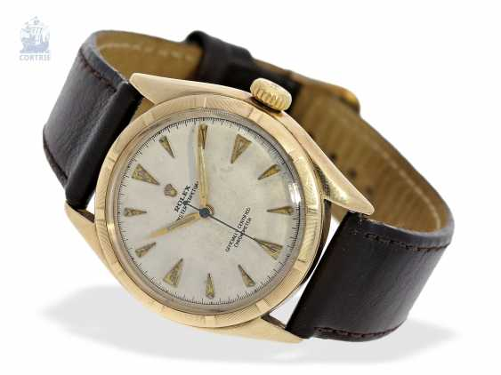 "Armbanduhr: Rolex Bubble Back Chronometer in 14K Gold, Ref.6085 ""Big Bubble Back"" , 50er Jahre - photo 1"