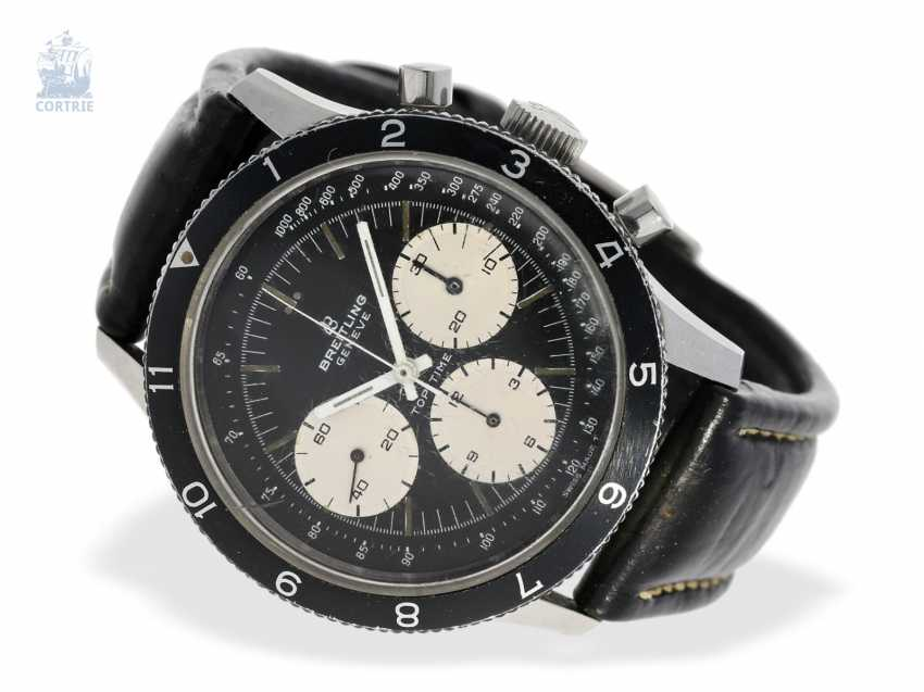 """Watch: extremely rare and sought-after Breitling-Chronograph Reverse Panda """"Top Time - Jean Claude Killy"""" Ref.1765/36 of approx. 1969, 1.Hand! - photo 1"""