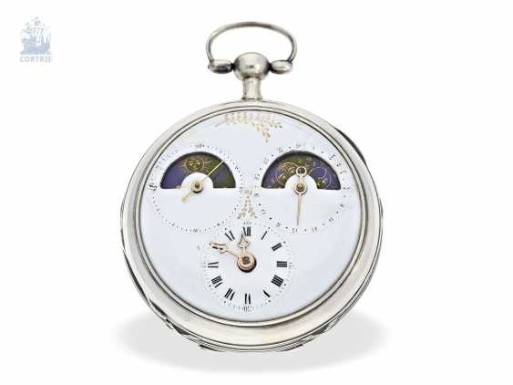 Pocket watch: unique, astronomical Spindeluhr with 3 complications and extremely rare plant decoration, probably Austria, around 1790 - photo 1