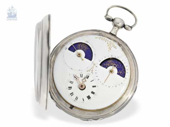 Pocket watch: unique, astronomical Spindeluhr with 3 complications and extremely rare plant decoration, probably Austria, around 1790 - photo 6