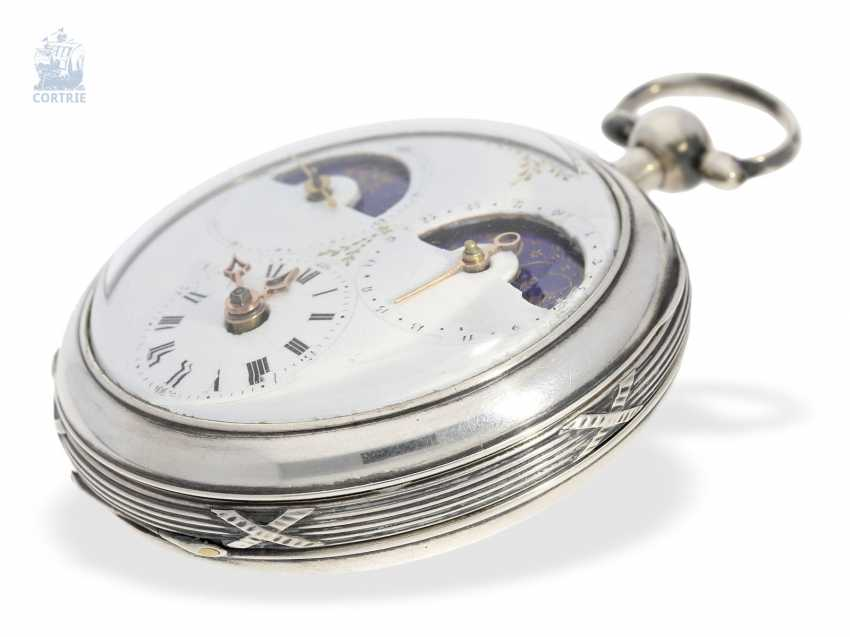 Pocket watch: unique, astronomical Spindeluhr with 3 complications and extremely rare plant decoration, probably Austria, around 1790 - photo 7