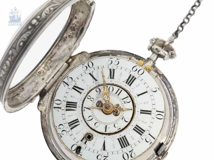 Pocket watch: early, high fine Spindeluhr with Alarm, the former French nobility, possessions, outstanding quality, Michel Lelubois Paris around 1730 - photo 1