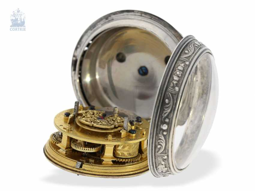 Pocket watch: early, high fine Spindeluhr with Alarm, the former French nobility, possessions, outstanding quality, Michel Lelubois Paris around 1730 - photo 2