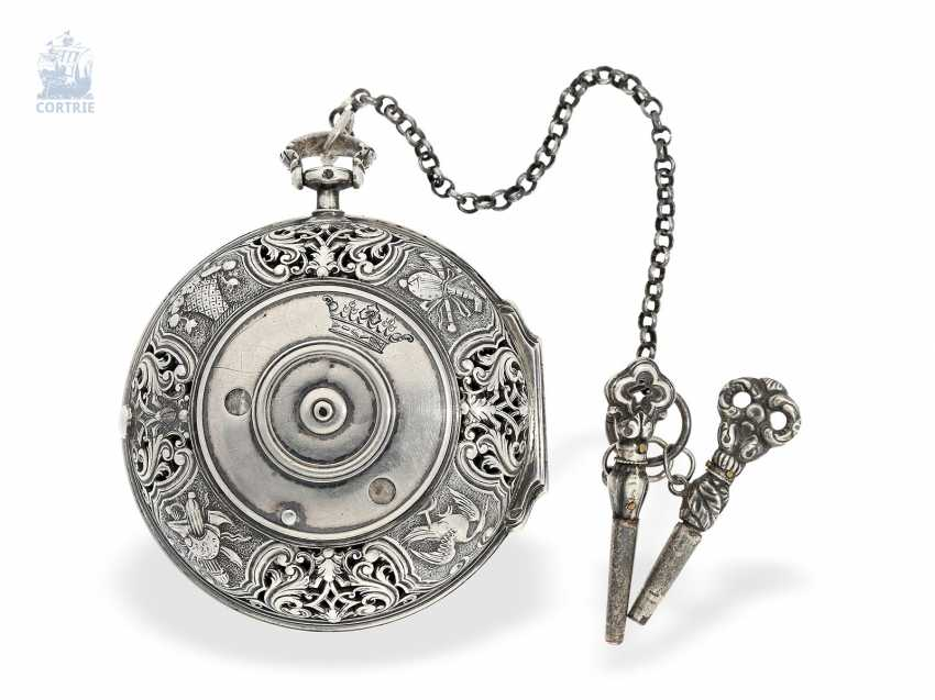 Pocket watch: early, high fine Spindeluhr with Alarm, the former French nobility, possessions, outstanding quality, Michel Lelubois Paris around 1730 - photo 3