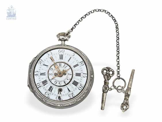 Pocket watch: early, high fine Spindeluhr with Alarm, the former French nobility, possessions, outstanding quality, Michel Lelubois Paris around 1730 - photo 4