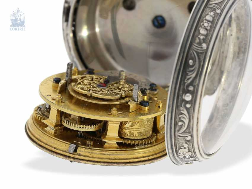 Pocket watch: early, high fine Spindeluhr with Alarm, the former French nobility, possessions, outstanding quality, Michel Lelubois Paris around 1730 - photo 6