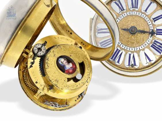 Pocket watch: unusual and early, early, early, einzeigrige Louis XIV Oignon with pseudo-pendant, enamel decoration and silver case, Louis Bouffeé a Saumur, around 1690 - photo 1