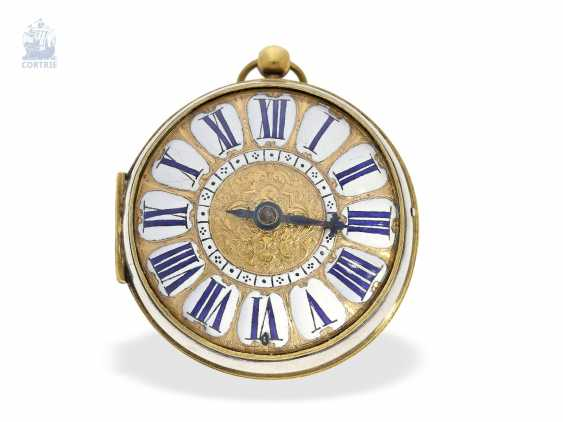 Pocket watch: unusual and early, early, early, einzeigrige Louis XIV Oignon with pseudo-pendant, enamel decoration and silver case, Louis Bouffeé a Saumur, around 1690 - photo 5