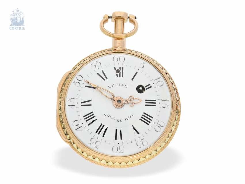 Pocket watch: very fine, two-tone Spindeluhr with repeater à toc, Lepine Hger du Roy No. 278, CA. 1770 - photo 1