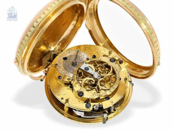 Pocket watch: very fine, two-tone Spindeluhr with repeater à toc, Lepine Hger du Roy No. 278, CA. 1770 - photo 2