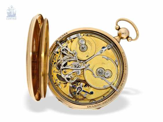 Pocket watch: important and probably unique highly complicated pocket watch with Grande & Petite Sonnerie, Repetition and music, watchmaker to the court of Louis Mallet, Paris, No. 1022/662, CA. 1820 - photo 4