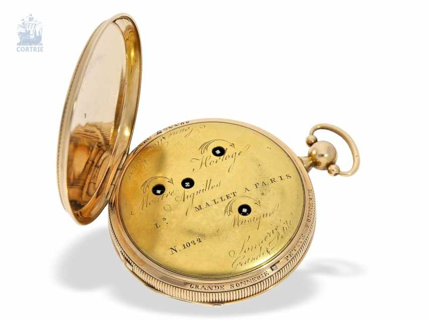 Pocket watch: important and probably unique highly complicated pocket watch with Grande & Petite Sonnerie, Repetition and music, watchmaker to the court of Louis Mallet, Paris, No. 1022/662, CA. 1820 - photo 1