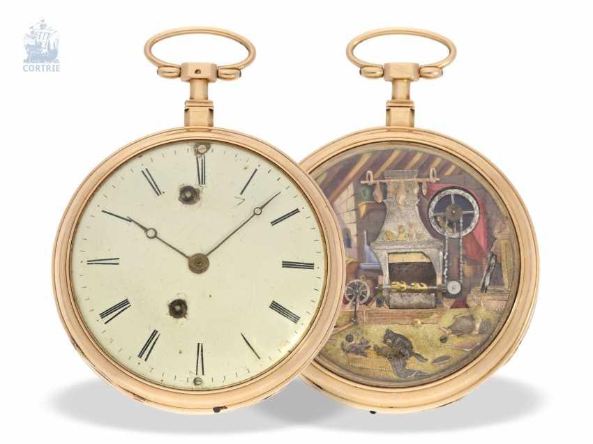 "Pocket watch: extremely rare Geneva pocket watch with figure automaton, ""The Dutch kitchen-The Dutch Kitchen"", int. Pierre Simon Gounouilhou Geneve, CA. 1815 - photo 1"