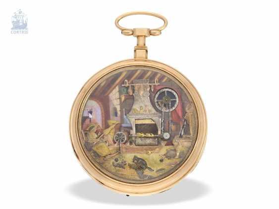 "Pocket watch: extremely rare Geneva pocket watch with figure automaton, ""The Dutch kitchen-The Dutch Kitchen"", int. Pierre Simon Gounouilhou Geneve, CA. 1815 - photo 2"