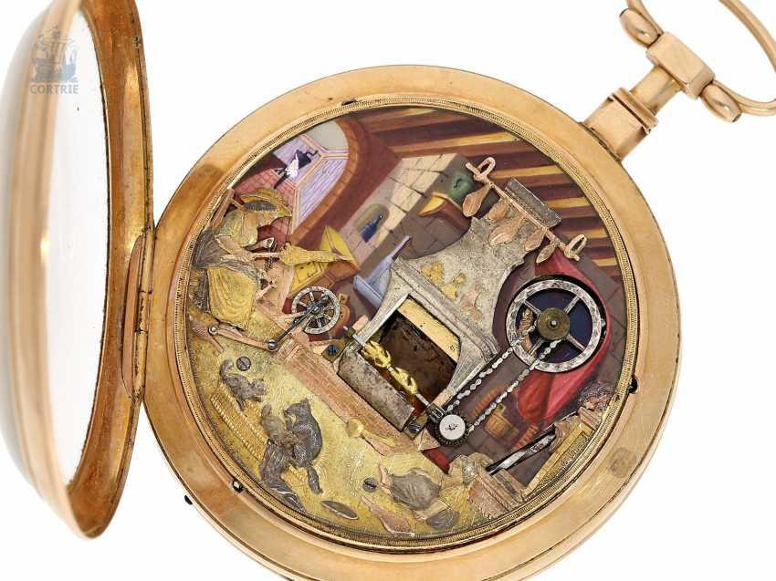 "Pocket watch: extremely rare Geneva pocket watch with figure automaton, ""The Dutch kitchen-The Dutch Kitchen"", int. Pierre Simon Gounouilhou Geneve, CA. 1815 - photo 3"
