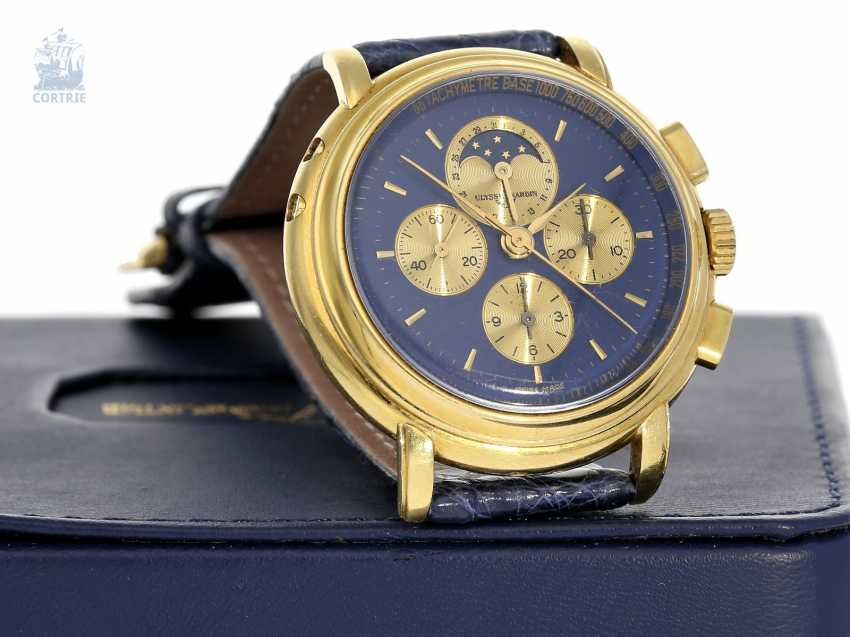 Watch: very heavy, luxurious Ulysse Nardin Gold Chronograph with calendar and moon phase, reference 531-22, 90s - photo 1