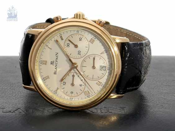 Watch: a luxurious, limited edition Chronograph in 18K rose gold, Blancpain Villeret Ref.1185, No. 122, with original box, approx 1995 - photo 1