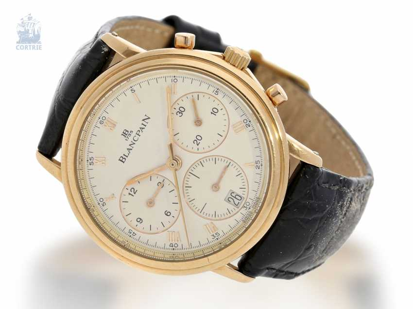 Watch: a luxurious, limited edition Chronograph in 18K rose gold, Blancpain Villeret Ref.1185, No. 122, with original box, approx 1995 - photo 6