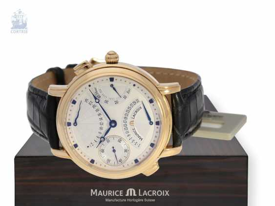 """Wrist watch: high quality men's watch, Maurice Lacroix """"MASTERPIECE DOUBLE RETROGRADE GMT"""" Ref. MP7018, 18K rose gold, mint with Box, papers and original label - photo 1"""