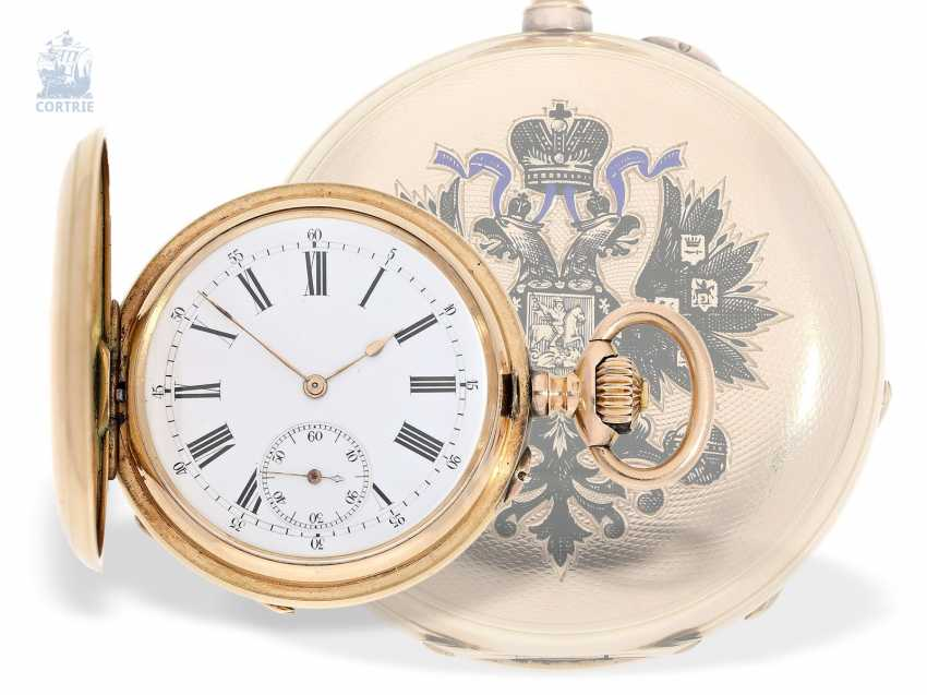 Pocket watch: historically interesting Gold/enamel-red gold-Savonnette, probably Präsentuhr of the Empress Maria Federowna on the occasion of the coronation of her son, Nicholas II in may 1896 - photo 1