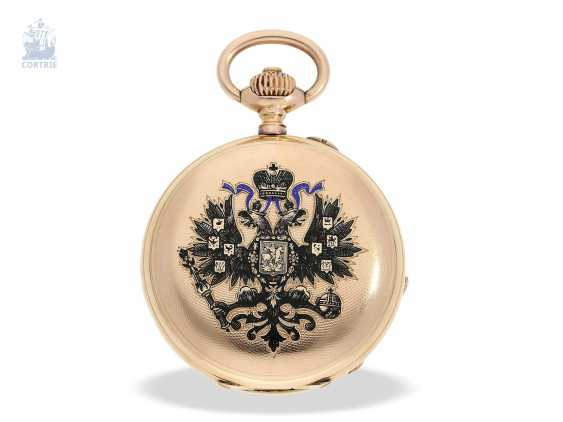 Pocket watch: historically interesting Gold/enamel-red gold-Savonnette, probably Präsentuhr of the Empress Maria Federowna on the occasion of the coronation of her son, Nicholas II in may 1896 - photo 4
