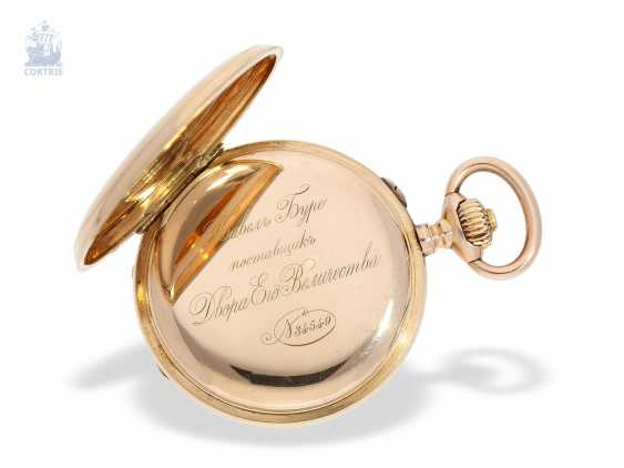 Pocket watch: historically interesting Gold/enamel-red gold-Savonnette, probably Präsentuhr of the Empress Maria Federowna on the occasion of the coronation of her son, Nicholas II in may 1896 - photo 8