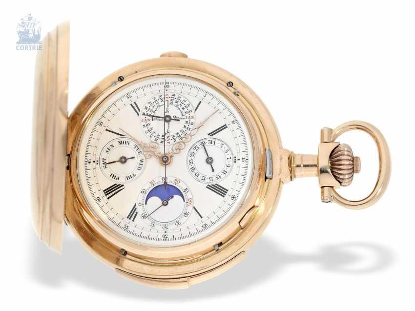 """Taschenuhr: bedeutende Le Coultre Goldsavonnette mit Le Coultre Zertifikat, """"Grande Complication """" 1st Quality"""" mit 8 Komplikationen, verm. Originalbox, ac 1895 - photo 2"""