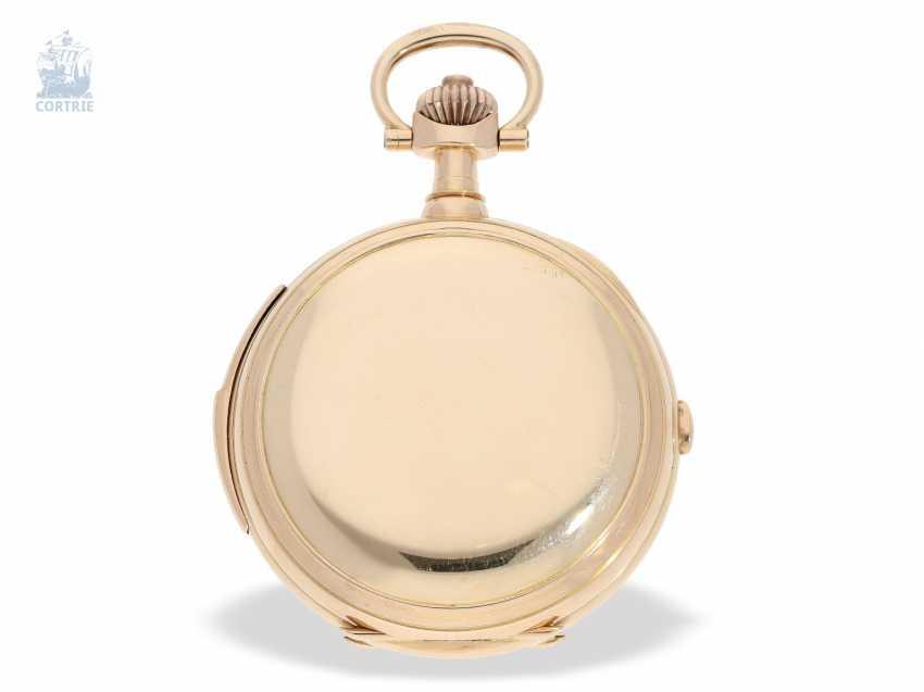 """Taschenuhr: bedeutende Le Coultre Goldsavonnette mit Le Coultre Zertifikat, """"Grande Complication """" 1st Quality"""" mit 8 Komplikationen, verm. Originalbox, ac 1895 - photo 4"""