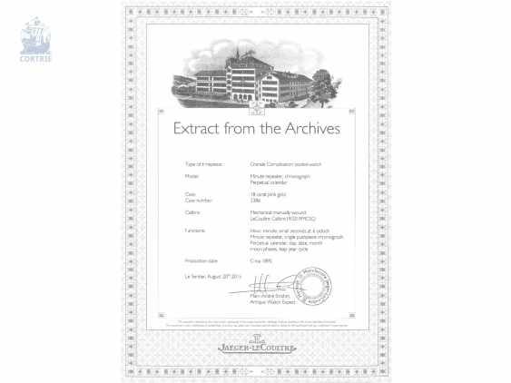 """Taschenuhr: bedeutende Le Coultre Goldsavonnette mit Le Coultre Zertifikat, """"Grande Complication """" 1st Quality"""" mit 8 Komplikationen, verm. Originalbox, ac 1895 - photo 5"""